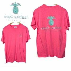 Simply Southern Pink Pineapple Tee Size Medium